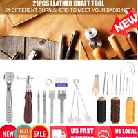 21Pcs Sewing Leather Craft Tool DIY Handmade Leather Crochet Hook Needles Tools