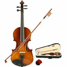 1/8 3/4 4/4 Full Size Natural Acoustic Violin Set Case Bow Rosin For Beginners