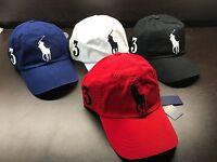 NEW Polo Ralph Lauren Baseball Cap Hat Big Pony Adjustable LEATHER Strap