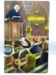 1910 GERMAN CHRISTMAS POSTCARD GOD JUL! PREACHER IN PULPIT