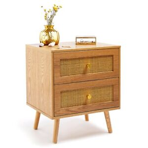 BTFY Rattan Bedside Table | 2 Drawer Bedside Cabinet Nightstand w/ Gold Handles