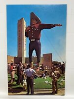 Vintage Postcard 1959 Big Tex Cowboy Dallas Texas State Fair Midway / P10