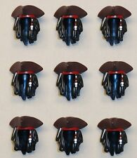 x9 NEW Lego Tricorne Pirate Hats JACK SPARROW Minifig Parts w/ HAIR & BEADS 4195