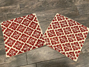 Pottery Barn Linen moroccan pillow Covers Embroidered Set Pair 18 X 18 Dark Red