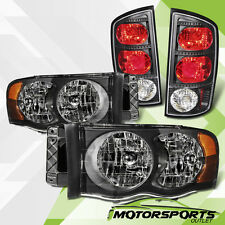 2002 2003 2004 2005 Dodge RAM 1500 2500 3500 Black Headlights Tail lights Set