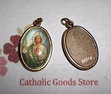 St. Saint Jude Italian 1 inch Gold Tone and Enameled - Medal