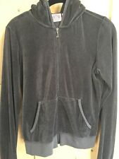 New Women's Juicy Couture Dark Grey Velour Track Hoodie Size Large