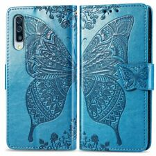 Butterfly Faux Leather Card Slot Wallet Flip Stand Strap Cell Phone Case Cover