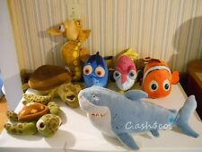Finding Nemo LARGE plush stuffed Lot of 7 Disney Tad Squirt Bruce Sheldon Crush