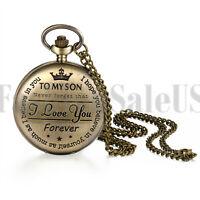 "Men's ""I love you forever"" Analog Quartz Bronze Pocket Watch Necklace For Son"