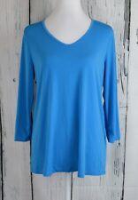 Slinky Brand Women Tunic Top Blouse Shirt Pullover Jersey Stretch V-Neck Blue S