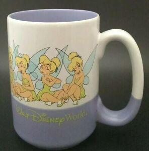 Walt Disney World Many Faces Of Tinkerbell Large Coffee Mug Purple And White