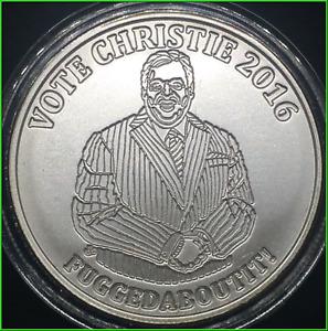2016 Silver Shield Vote Chris Christie 1oz .999 Silver BU Very Low Mintage!