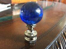 Lamp Finial Topper Cobalt Blue Glass Sphere Chrome Base Hollywood
