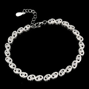 Round White Cubic Zirconia 14K White Gold Plate 925 Sterling Silver Bracelet 7