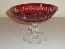VINTAGE VAL ST LAMBERT CRYSTAL CRANBERRY CUT TO CLEAR COMPOTE CENTERPIECE