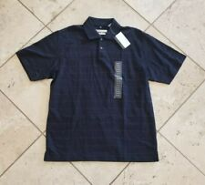 NWT Men's Geoffrey Beene Blue Polished Cotton Short Sleeve Polo Shirt Size M