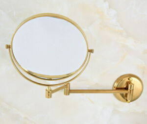 Golden Brass Folding Dual Arm Extend Bathroom Mirror Wall Mount Makeup Mirror