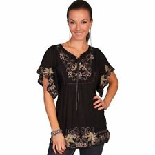 Scully Western Shirt Womens Size S Honey Creek Tunic Floral Black HC78 $75.50