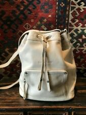Longchamp Leather Ivory Drawstring Bucket Bag Crossbody Purse with Dust Cover