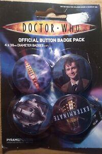 Doctor Who Badge Pack Set of 4 10th Doctor David Tennant, Dalek, Cyberman 2006