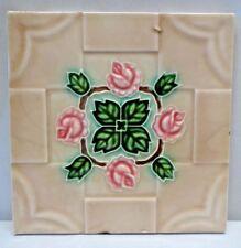 TILE JAPAN DK ART NOUVEAU MAJOLICA ROSE PINK LEAF GREEN DESIGN VINTAGE RARE #201