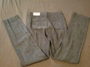 Womens New Ann Taylor Linen Dress Pants 2T Tall Gray Khaki Slack Trouser