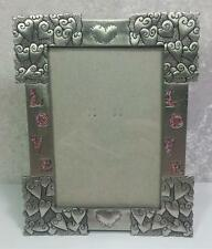 "Pewter Hearts Frame Photo Size 3.5"" x 5"" I Love You Modern Cottage Shabby Boho"