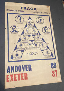 ORIGINAL 1927 TRACK & FIELD~12x21~ANDOVER w/ATHLETES & CAPTAIN WEICKER~VS EXETER