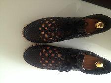 CELINE Paris Espadrilles Schnürschuhe Sandallen Luxus schwarz Leder Gr 37 wNeu