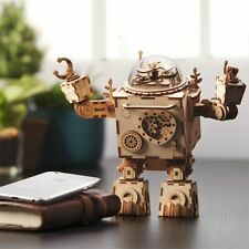 Kinds DIY Action & Toy Figure Steampunk Rotatable Robot Wooden Clockwork Music B