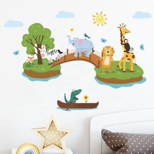 REMOVABLE ANIMAL JUNGLE ZOO WALL STICKER DECAL BABY KIDS CHILDREN  ROOM