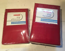 King Flat Sheet & Pillow Cases Combo Cotton Rich Chili Pepper Red NEW Sealed