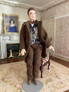 Vintage Miniature Dollhouse Artisan Porcelain Doll Suit Man Handsome Character