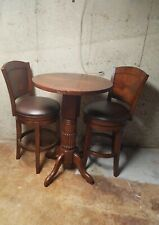 "Used Solid Wood Pub Table (42"") & Leather/Wood Seat Chairs (Seat 30""/Back 45"")"