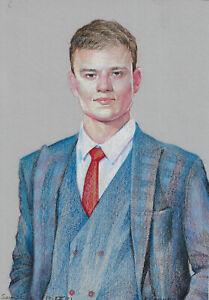 original drawing A4 137RE art samovar Realism pastel male portrait Signed 2021