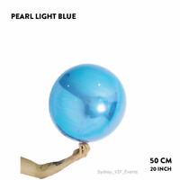 "PEARL LIGHT BLUE FOIL BALLOON BALL 20""/50cm ROUND ORBZ WEDDING BIRTHDAY PARTY"