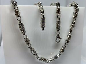 """925 Sterling Silver Solid CZ Round Link Type Men's Chain Necklace 30"""""""