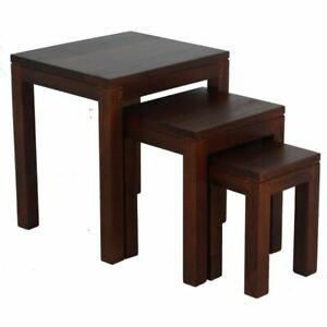 AMSTER Set Of 3 Nested Tables - Solid Timber - Mahogany