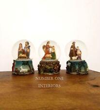GISELA GRAHAM Christmas nativity mini snowdomes set of 3 ornament decoration
