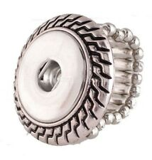 Silver Adjustable Stretch Ring Single 18-20mm Snap Charm For Ginger Snaps