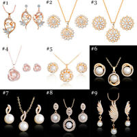Woman Gold Plated Crystal Pendant Chain Necklace Earrings Jewelry Sets Gift