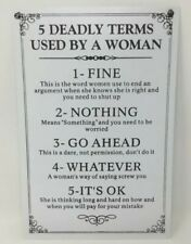 5 Deadly Terms Used By A Woman Funny Hanging Metal Sign Plaque Mothers Day Gift