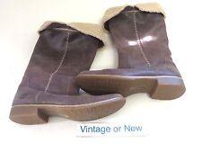 Women's Timberland Shoreham Dark Brown Knee High Fold Down Leather Boots sz 9.5