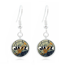 Jazz Trumpet glass Frea Earrings Art Photo Tibet silver Earring Jewelry #330