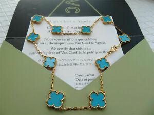 Authentic Van Cleef & Arpels 18k Yellow Gold Turquoise Vintage Alhambra Necklace