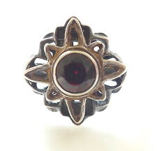 Vintage Bohemian Garnet 925 Silver Star Flower Ring 6.25 Antique