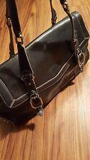 COLE HAAN Black  Leather Belted Shoulder Tote Shopper Purse Bag Trinity F04