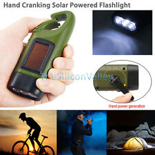 3 LED Solar Powered Hand Crank Flashlight Rechargeable Emergency Camping Light