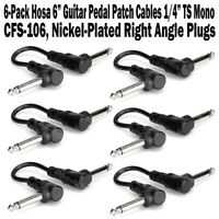 """6-Pack Hosa 6 Inch Guitar Pedal Right Angle Patch Cable 1/4"""" Cord Inch NEW"""